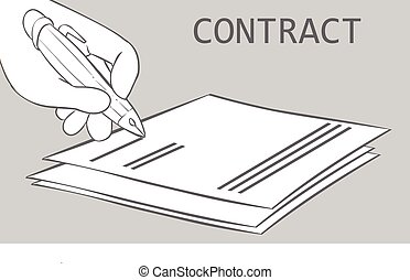 vector illustration of a signing contract
