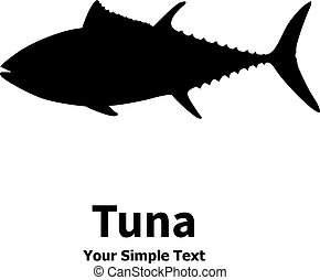 Vector illustration of a silhouette of a tuna