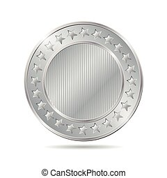 vector illustration of a silver coin on white background