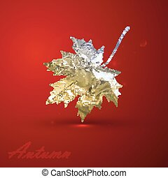 vector illustration of a silver metallic foil maple leaf on red