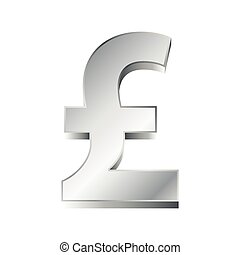 vector illustration of a silver pound sign on white background