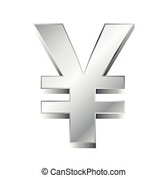 vector illustration of a silver yen sign on white background