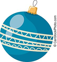 Vector illustration of a simple blue Christmas ball on a white background. Cartoon style vector