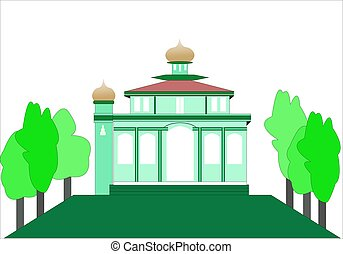 Vector illustration of a simple mosque on a white background