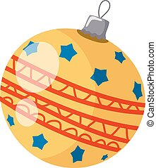 Vector illustration of a simple yellow Christmas ball on a white background. Cartoon style