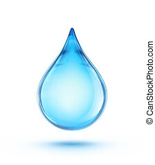water drop - Vector illustration of a single blue shiny ...
