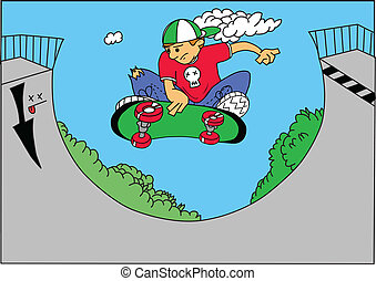 skate boarder - vector illustration of a skate boarder doing...