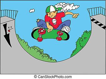 skate boarder - vector illustration of a skate boarder doing...