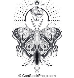 Vector illustration of a sketch, tattoo art butterfly in abstract style, mystical, astrological symbol.