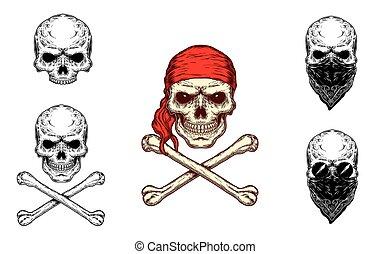 Vector illustration of a skull and crossbones