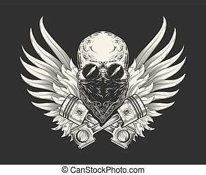 Vector illustration of a skull racer in sunglasses, bandanna and with pistons