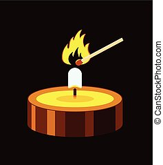 vector illustration of a small burning candle and match fire