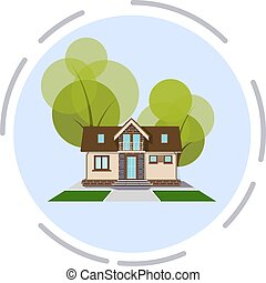 Vector illustration of a small cozy house with a tree on a white background. Design Element