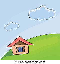 Vector illustration of a small house on the hill