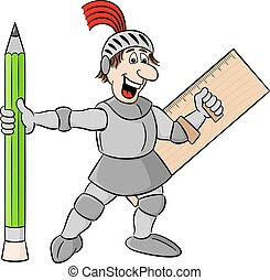 small knight armed with pencil and ruler