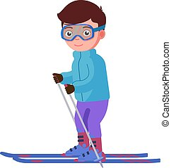 Vector illustration of a smiling boy skiing