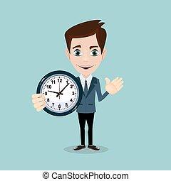Vector illustration of a smiling cartoon businessman with alarm clocks,