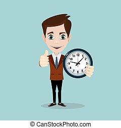 businessman with alarm clocks, thumbs up,
