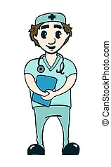Vector illustration of a smiling doctor
