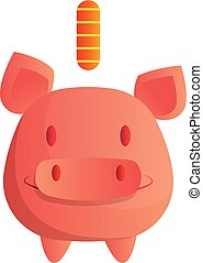 Vector illustration of a smiling piggy bank on white background