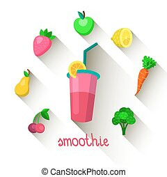 Vector illustration of a smoothie's composition in trendy flat style.