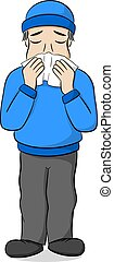 sneezing cartoon man - vector illustration of a sneezing...