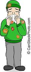 sneezing cartoon man - vector illustration of a sneezing...