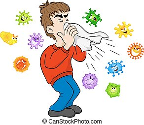 sneezing man with germs - vector illustration of a sneezing...