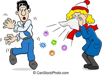 sneezing woman with germs - vector illustration of a...
