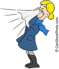 sneezing woman with handkerchief - vector illustration of a...