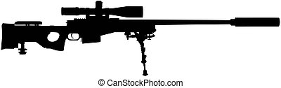 Vector illustration of a sniper rifle silhouette
