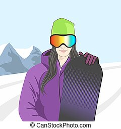 Vector illustration of a snowboarder girl