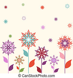 Vector illustration of a snowflakes, flowers background