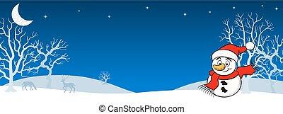 snowman in a winter landscape