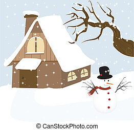 Vector illustration of a snowman with winter background.