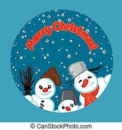 Vector illustration of a snowmans