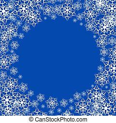 Vector illustration of a snowy winter background. Snowflakes on blue background