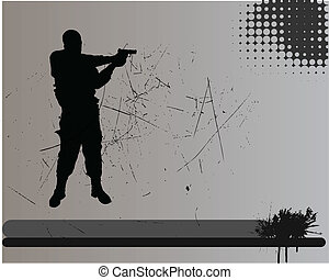 vector illustration of a soldier sihouette on a grunge background