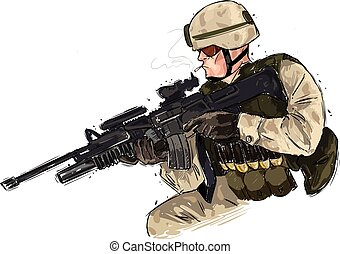 vector illustration of a soldier with rifle