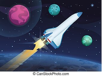Vector illustration of a space rocket launch from Earth. Space travel to the alien planets and stars.