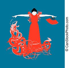 Vector illustration of a Spanish Flamenco