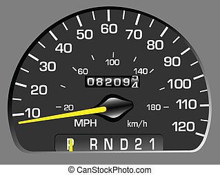 Vector illustration of a speedometer. Odometer