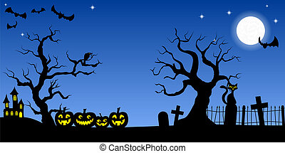 vector illustration of a spooky halloween background