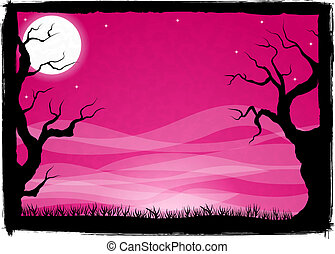 spooky halloween background - vector illustration of a ...