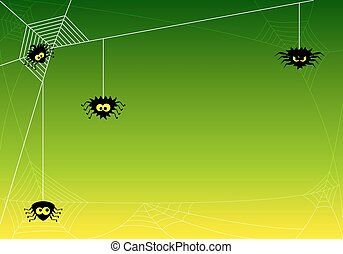 spooky halloween background with spiders in net