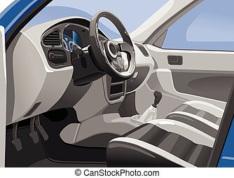 Vector illustration of a sport car interior. View from the opened door. Simple gradients only - no gradient mesh.