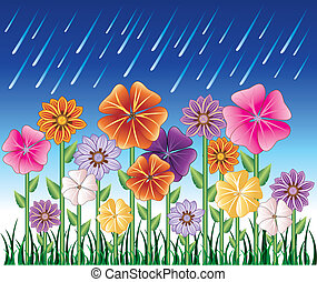 Vector illustration of a Spring Day 2 with Rain and Flower Garden with grass.