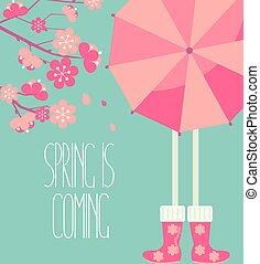 Vector illustration of a spring season.