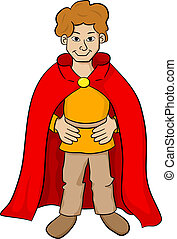 squire with red cape - vector illustration of a squire with ...