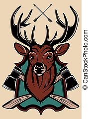 vector illustration of a stag's hea